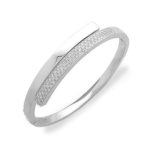 Superstar Bracelet Femme en Or 18 carats Blanc avec Diamant H/VS (total diamants 0.84 ct), Diam. Cm 6, 31 Grammes