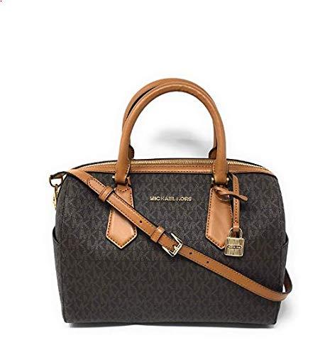 Michael Kors Hayes Large Duffle Satchel Bag Brown MK Signature (Leather Barrel Handbags)