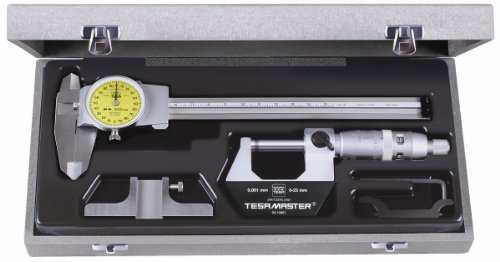 Brown & Sharpe TESA 05.30021 4-Piece Measuring Set with Micrometer, Dial Calipers, Depth Measuring Base, and Storage Case by TESA Brown & Sharpe