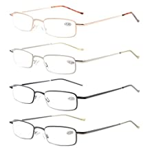 Eyekepper 4-Pack Compact Spring Temple Reading Glasses with Portable Pocket Clip Aluminum Case +1.25