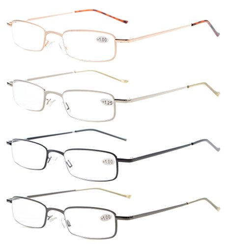 4-Pack Compact Spring Temple Reading Glasses with Portable Pocket Clip Aluminum Case - One For Pads Glasses Nose Piece