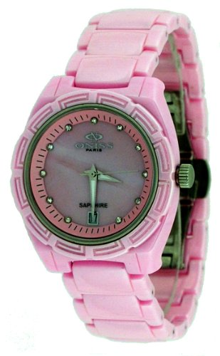 Oniss #ON7702-L Women's Crystal Index MOP Dial Pink Ceramic Watch