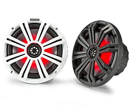 Kicker KM8 8-Inch (200mm) Marine Coaxial Speakers with 1-Inch (25mm) Tweeters, LED, 4-Ohm,Charcoal and White Grilles (Kickers White)
