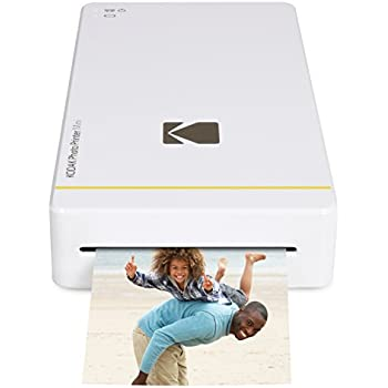 "Kodak mini portable mobile instant photo printer - Wi-Fi & NFC compatible - wirelessly prints 2.1 x 3.4"" images, White (KOD-PM210W)"