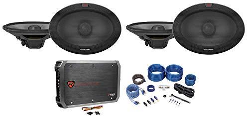 (4) Alpine R-S69.2 300 Watt 6x9 Car Audio 2-Way Speakers+4-Channel Amplifier