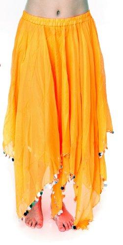 JUPE LONGUE de DANSE ORIENTALE double pan JETONS voile DANSE DU VENTRE avec des paillettes Orange/Argent
