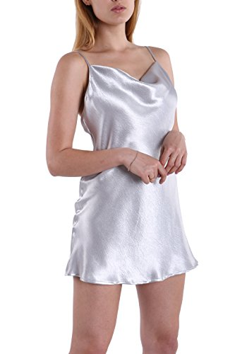 Dress Halter Silk Neck (Fyriona Women's Backless Club Party Dress Glossy Sexy Nightgown Spaghetti Straps Cowl Neck Silver S)