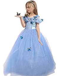 Girls Princess Cinderella Dress Butterfly Party Costumes
