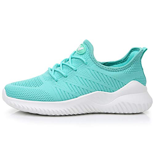 QAUPPE Women's Memory Foam Tennis Shoes Lightweight Comfortable Casual Mesh Slip On Athletic Walking Sneakers (Mint Green US 7 B(M)