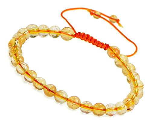 AD Beads Natural 6mm Gemstone Bracelets Healing Power Crystal Macrame Adjustable 7-9 Inch (26 Citrine)