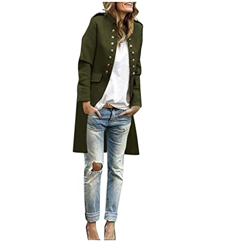 Women Coat Long Overcoat Autumn Solid Fashion Button Long Sleeve Tops Double-Breasted Jacket DongDong Army Green