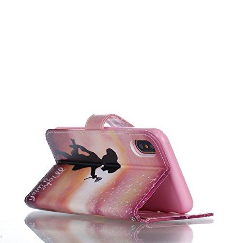 Vandot PU Funda Flip Case para iPhone X / iPhone10 Caso de Cuero con la Función del Soporte Pintado Cubierta Caja Protectora de la Teléfono para móvil iPhone X / iPhone 10 5.8 + 1x Metal Stylus Pen + Patron 1