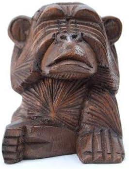 Artisanal Les 3 singes Secret du Bonheur Statuettes en Bois Massif H10cm