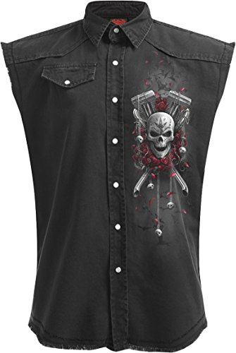 - Spiral - Mens - DOTD Bikers - Sleeveless Stone Washed Worker Black - XL