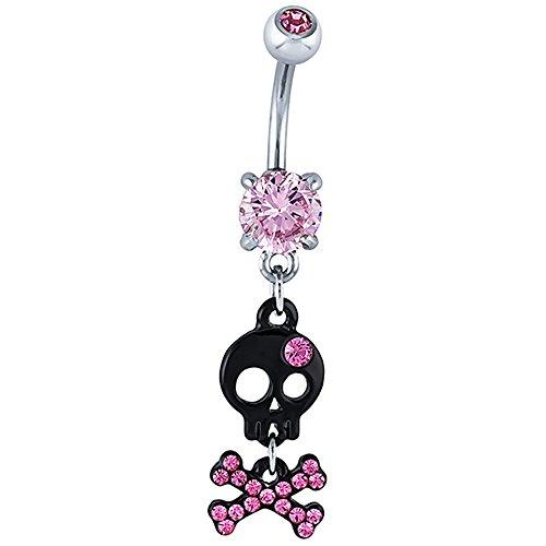 Pink Black Skull & Crossbones 316L Stainless Steel Dangle Belly Ring (Skull Dangle)