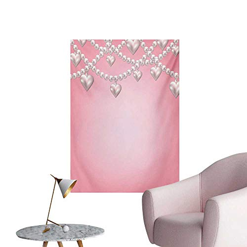 Anzhutwelve Pearls Wall Paper Heart Pearl Necklace Design Vintage Accessory Love Valentines Celebrating ArtworkBeige Pink W24 xL32 The Office Poster ()