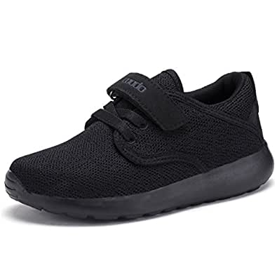 COODO CD3001 Toddler Kid's Lightweight Sneakers Boys and Girls Cute Casual Running Shoes ALL BLACK-5