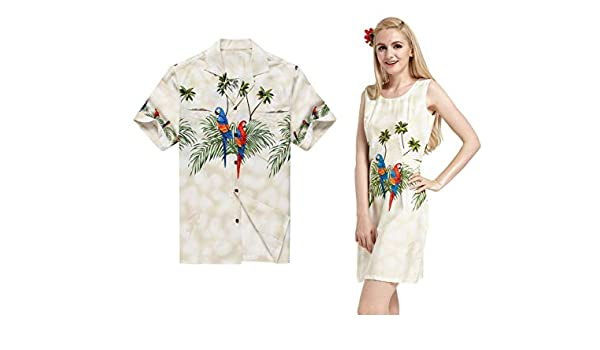 Hecho en Hawai Pareja coincidente Luau Aloha Camisa Vestido de Tanque Cross Parrots Palms en Crema M-2XL: Amazon.es: Ropa y accesorios