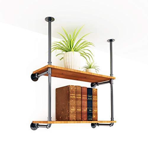 "DIYHD 35"" Ceiling Mount Industrial TV Wall Vintage Pipe Shelf 2 Layer Pipe Bracket"