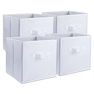 "DII Fabric Storage Bins for Nursery, Offices, & Home Organization, Containers Are Made To Fit Standard Cube Organizers (11x11x11"") White - Set of 4"