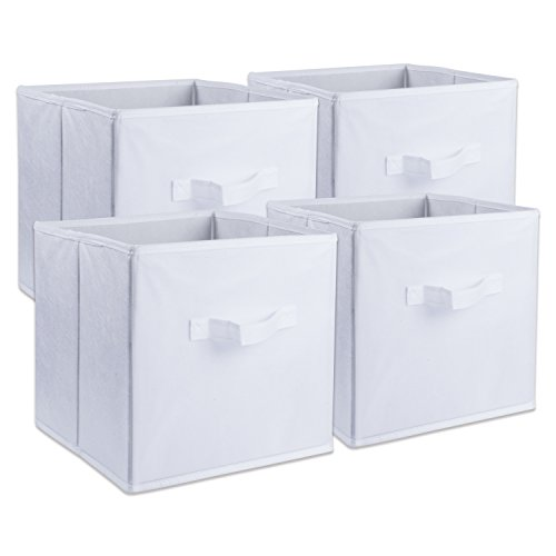 (DII Foldable Fabric Storage Containers for Nurseries, Offices, Closets, Home Décor, Cube Organizers & Everyday Use, 11 x 11 x 11 White - Set of 4 Small)