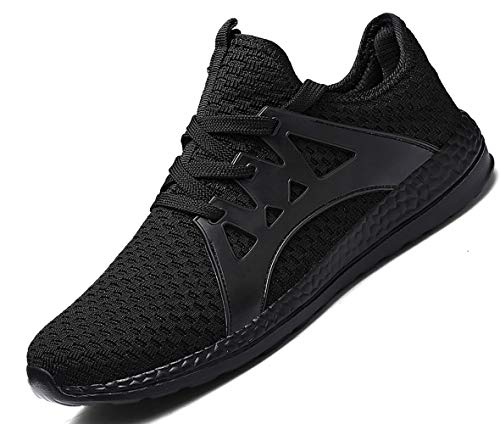 Gxrxqs Men's Tennis Shoes Mesh Breathable Sports Trail Running Sneakers (1817-black-44)