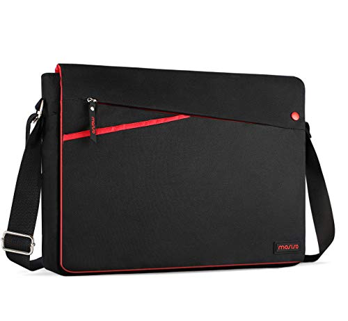MOSISO Messenger Laptop Shoulder Bag Compatible 13-13.3 Inch MacBook Pro Retina/MacBook Air/Surface Laptop 2017/Surface Book 2/1 with Two Side Pockets, Protective Carrying Case, Black and Red ()