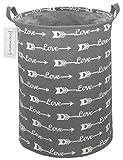 HOUSESTORAGE Laundry Hamper Storage Bin Baskets Foldable Nursery Laundry Basket for Organizing Kids Toy/Office/Bedroom/Toy Bin/Closet/Shelf Baskets/Baby Hamper (Love Grey Arrow)