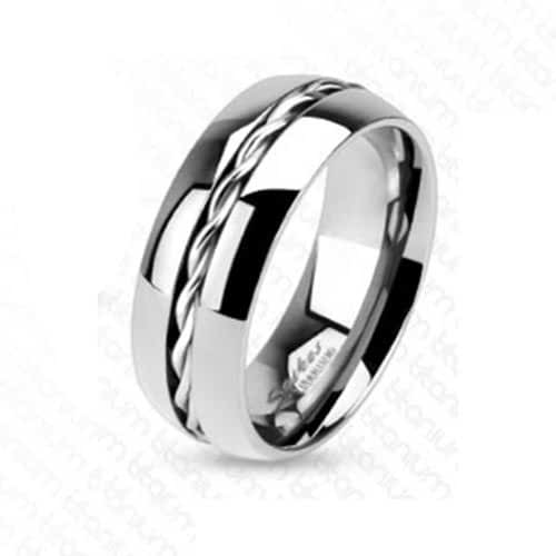 Solid Titanium Line Rope Twist Inlay Center Band Ring R441