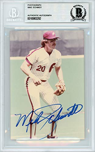 Mike Schmidt Autographed 3.5x5 Photo Philadelphia Phillies Beckett BAS #10983292
