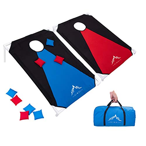 Himal Portable Assemble PVC Framed CornHole Game Set with 8 Bean Bags and Carrying Case (3 x 2-feet)