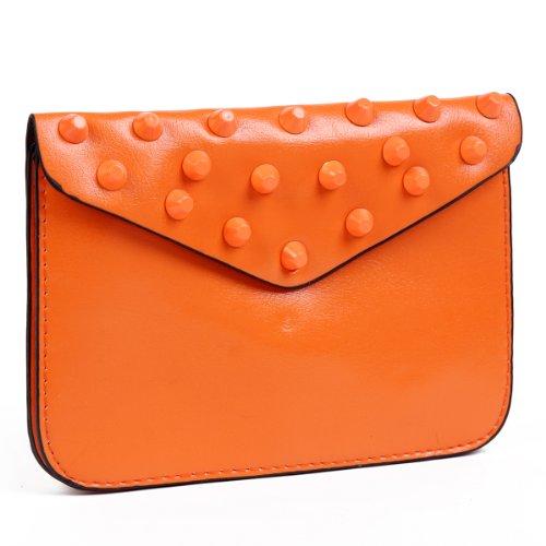 Damara Womens Envelope Slim Travel Cross Body Bag Cell Phone Case Wallet Pouch,Orange