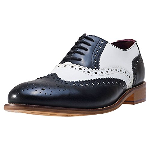 London Brogues Gatsby Leder Herren Halbschuhe Black White