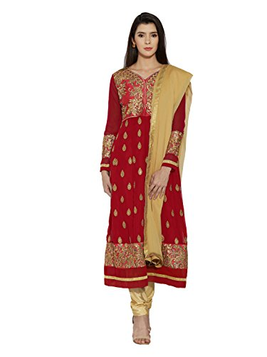 Mirchi Fashion Red Faux Georgette Un-Stitched Anarkali Suit with - For Suits Wear Salwar Party Women