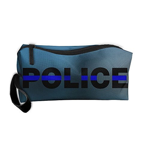 TRENDCAT Blue Thin Line Police Storage Pouch Travel Makeup Bag Oxford Cloth Kit Organizer For Sewing Medicine Comestic Fashion Pencil Pen (Maple Single Pen Box)
