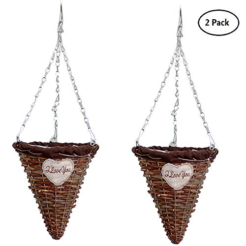 Yunhigh Cone Shape Hanging Planter Rattan Hanging Basket Planter Wicker Braided Fake Flower Hanging Basket Plant Pot Holder for Indoor Outdoor Plants,Set of 2