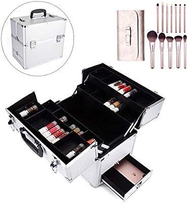 LOGYIO Estuche de Maquillaje Profesional, Estuche Organizador de Viaje cosmético con Pincel de Maquillaje, Cerradura y Compartimentos: Amazon.es: Deportes y aire libre