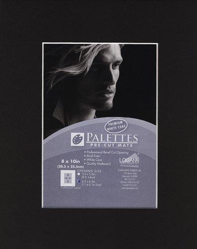 Palettes Pre-Cut Mat- Smooth Black 8x10 Inch (4.5x6.5 Inch Window)