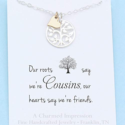 Cousins Gift • Family Tree Necklace • Sterling Silver • Meaningful Jewelry • Friendship & Love Charm