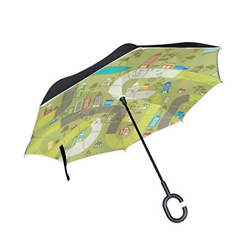 Reverse Umbrella Board Game Windproof Inverted Umbrella Anti-UV for Outdoor