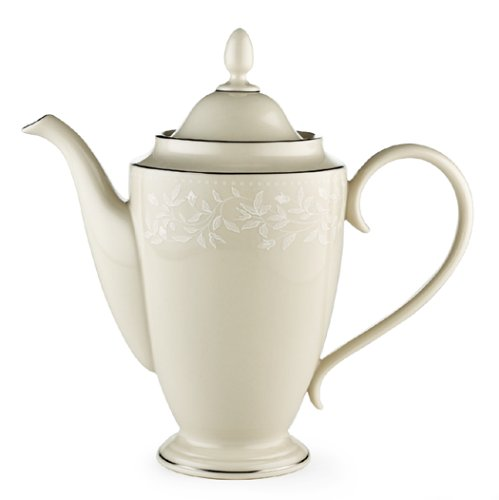 Pot Platinum Banded Coffee (Lenox Linen Rose Bone China Platinum Banded Coffeepot)