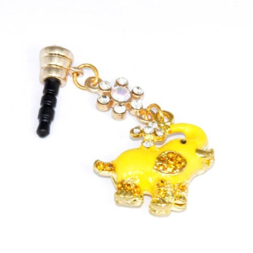 Cutequeen Dust-proof Ear Cap Yellow Elephant 3.5mm Plug For iPhone 3G 3Gs 4G 4S 5 FC12 (Elephant Plug For Iphone 4s)