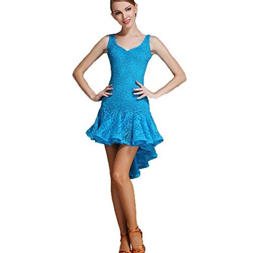 Robe Costume Danse Jupes Wqwlf Pour l Femmes De Les Cha Salon Nationale Moderne Latine Blue Anaadg