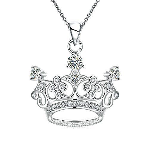 Ztuo Women Queen Crown Princess Pendant Necklace Gift Cubic Zirconia Crystal 925 Sterling Silver Plated