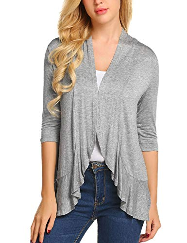 Zeagoo Women's Open Front 3/4 Sleeve Draped Ruffles Knit Cardigan XX-Large Grey