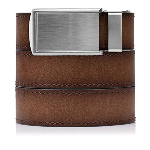 SlideBelts Full Grain Leather Belt (Adobe with Silver Buckle, One -