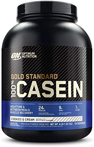 Optimum Nutrition Gold Standard 100 Micellar Casein Protein Powder, Slow Digesting, Helps Keep You Full, Overnight Muscle Recovery, Cookies and Cream, 4 Pound Packaging May Vary
