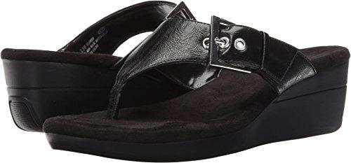 Aerosoles Women's Flower Wedge Sandal, Black, 8 M US