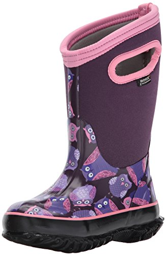 Bogs Kids' Classic High Waterproof Insulated Rubber Neoprene Rain Boot Snow, Owl Print/Purple/Multi, 10 M US Toddler (Winter Bogs Boots Women)