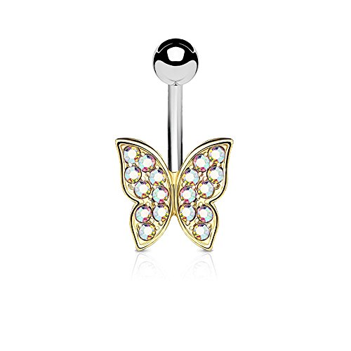 Dynamique IP Gold and Rose Gold Over Crystal Paved Butterfly 316L Surgical Steel Belly Button Navel Ring